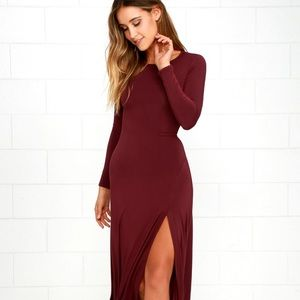Lulus Swept Away Burgundy Long Sleeve Maxi Dress